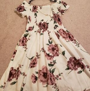 Off Shoulder Floral Print Dip Dress